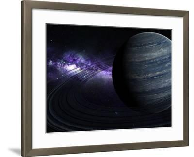 Artist's Concept of a Blue Ringed Gas Giant in Front of a Galaxy-Stocktrek Images-Framed Photographic Print