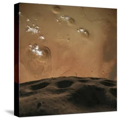 Phobos Orbits So Close to Mars That the Planet Would Fill the Little Moon's Sky-Stocktrek Images-Stretched Canvas Print