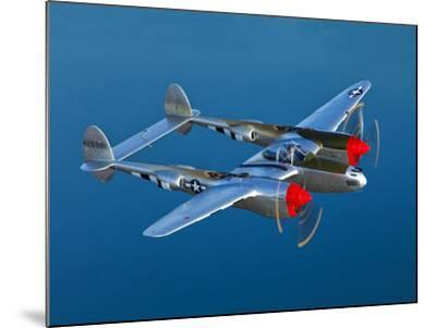 A Lockheed P-38 Lightning Fighter Aircraft in Flight-Stocktrek Images-Mounted Photographic Print