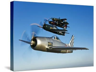 Two Grumman F8F Bearcats and Two F7F Tigercats Fly in Formation-Stocktrek Images-Stretched Canvas Print