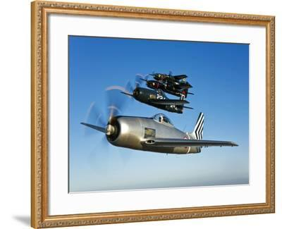 Two Grumman F8F Bearcats and Two F7F Tigercats Fly in Formation-Stocktrek Images-Framed Photographic Print