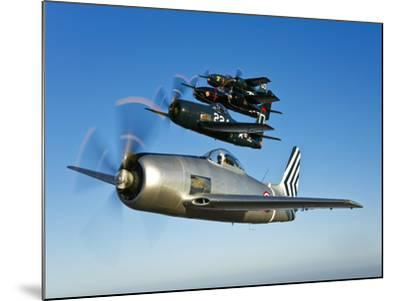 Two Grumman F8F Bearcats and Two F7F Tigercats Fly in Formation-Stocktrek Images-Mounted Photographic Print