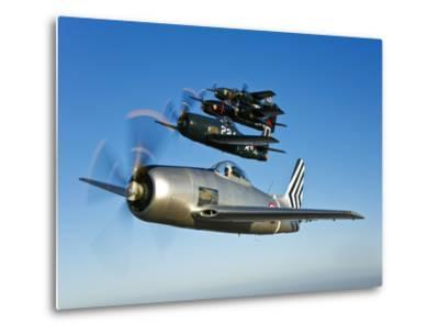 Two Grumman F8F Bearcats and Two F7F Tigercats Fly in Formation-Stocktrek Images-Metal Print