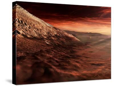 Dark Dunes March Along the Floor of Gale Crater, Mars-Stocktrek Images-Stretched Canvas Print