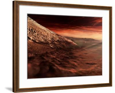 Dark Dunes March Along the Floor of Gale Crater, Mars-Stocktrek Images-Framed Photographic Print