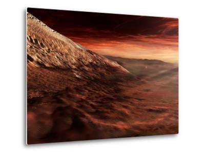 Dark Dunes March Along the Floor of Gale Crater, Mars-Stocktrek Images-Metal Print
