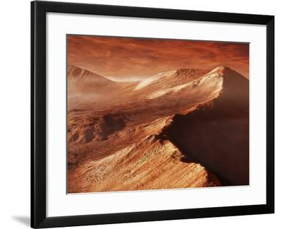 A Light Winter's Frost Forms in Mojave Crater, Trapped by the Crater's Mountainous Walls-Stocktrek Images-Framed Photographic Print