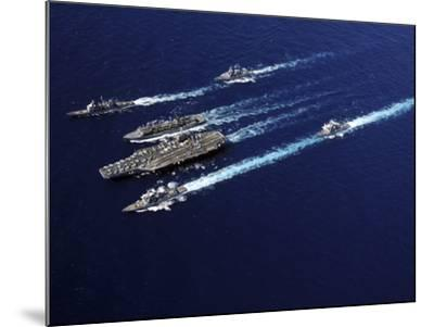 The Abraham Lincoln Carrier Strike Group Ships Cruise in Formation in the Pacific Ocean-Stocktrek Images-Mounted Photographic Print