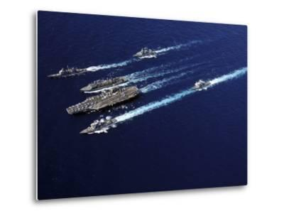 The Abraham Lincoln Carrier Strike Group Ships Cruise in Formation in the Pacific Ocean-Stocktrek Images-Metal Print