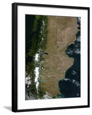 Satellite View of the Patagonia Region in South America-Stocktrek Images-Framed Photographic Print