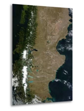 Satellite View of the Patagonia Region in South America-Stocktrek Images-Metal Print