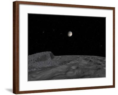 Artist's Concept of a View across the Surface of Themisto Towards Jupiter and its Moons-Stocktrek Images-Framed Photographic Print