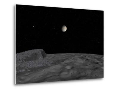 Artist's Concept of a View across the Surface of Themisto Towards Jupiter and its Moons-Stocktrek Images-Metal Print