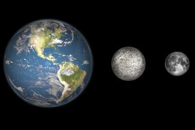 Artist's Concept of the Earth, Mercury, and Earth's Moon to Scale-Stocktrek Images-Stretched Canvas Print