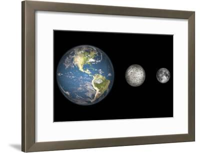 Artist's Concept of the Earth, Mercury, and Earth's Moon to Scale-Stocktrek Images-Framed Photographic Print