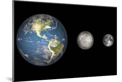 Artist's Concept of the Earth, Mercury, and Earth's Moon to Scale-Stocktrek Images-Mounted Photographic Print
