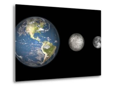 Artist's Concept of the Earth, Mercury, and Earth's Moon to Scale-Stocktrek Images-Metal Print