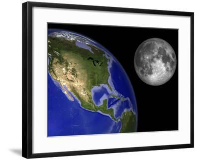 Artist's Concept of the Earth and its Moon-Stocktrek Images-Framed Photographic Print