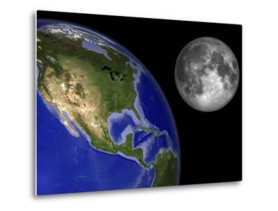 Artist's Concept of the Earth and its Moon-Stocktrek Images-Metal Print