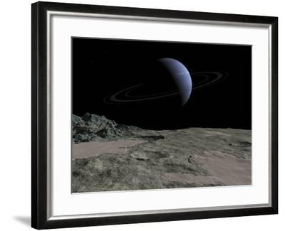 Illustration of the Gas Giant Neptune as Seen from the Surface of its Moon Triton-Stocktrek Images-Framed Photographic Print