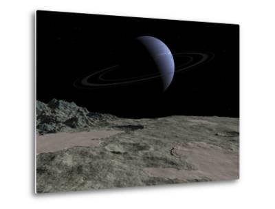 Illustration of the Gas Giant Neptune as Seen from the Surface of its Moon Triton-Stocktrek Images-Metal Print