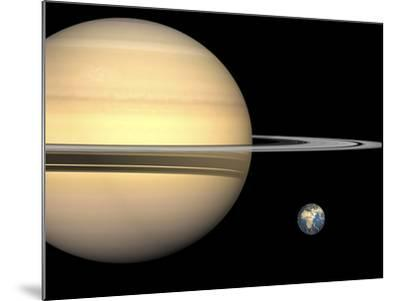 Illustration of Saturn and Earth to Scale-Stocktrek Images-Mounted Photographic Print