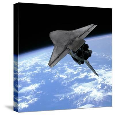 Artist's Concept of a Space Shuttle Entering Earth Orbit-Stocktrek Images-Stretched Canvas Print