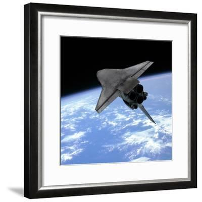 Artist's Concept of a Space Shuttle Entering Earth Orbit-Stocktrek Images-Framed Photographic Print