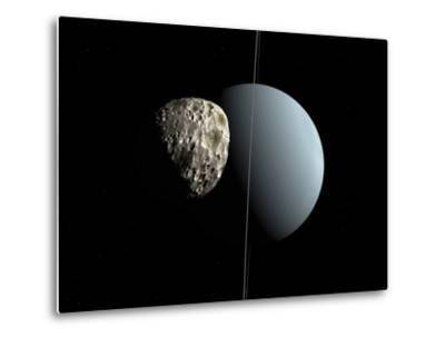 Artist's Concept of How Uranus and its Tiny Moon Puck-Stocktrek Images-Metal Print