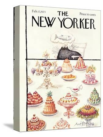 The New Yorker Cover - February 17, 1973-Ronald Searle-Stretched Canvas Print