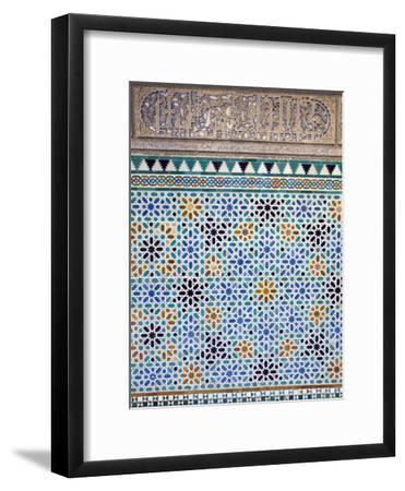 Detail of Tiles and Plaster Carving at Alcazar Royal Palaces, Seville-Krista Rossow-Framed Photographic Print