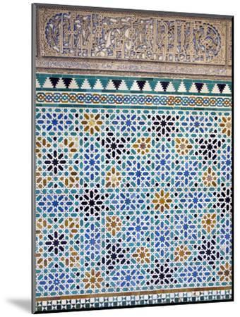Detail of Tiles and Plaster Carving at Alcazar Royal Palaces, Seville-Krista Rossow-Mounted Photographic Print