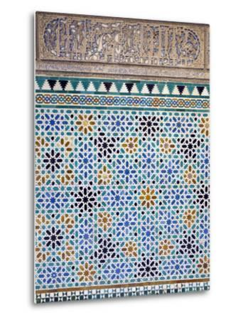 Detail of Tiles and Plaster Carving at Alcazar Royal Palaces, Seville-Krista Rossow-Metal Print