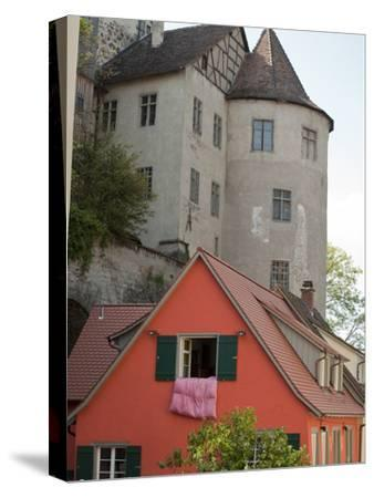 Castle in Town of Meersburg with Orange Home in Foreground-Greg-Stretched Canvas Print