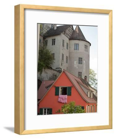 Castle in Town of Meersburg with Orange Home in Foreground-Greg-Framed Photographic Print
