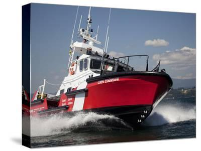A 47-Ft Lifeboat of the Canadian Coast Guard Plies the Ocean Waters-Pete Ryan-Stretched Canvas Print