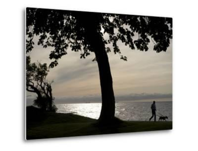Dog Walker Along Visby Harbor-Keenpress-Metal Print