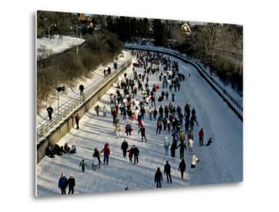 Skaters Enjoy a Beautiful Winter Afternoon on the Rideau Canal, Ottawa-Kenneth Ginn-Metal Print