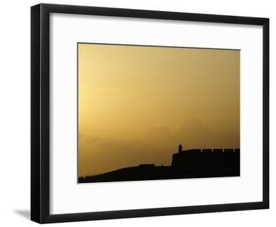 Morro Fortress Silhouetted Against a Sunset Sky-Raul Touzon-Framed Photographic Print
