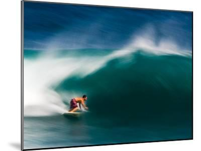 A Surfer Pulls into the Barrel on a Big Day at Uluwatu-Ben Horton-Mounted Photographic Print