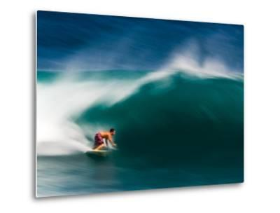 A Surfer Pulls into the Barrel on a Big Day at Uluwatu-Ben Horton-Metal Print