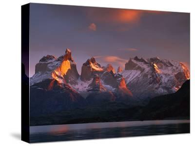Cuernos Del Paine at Dawn and Lago Pehoe, Torres Del Paine National Park, Patagonia, Chile-Colin Monteath/Minden Pictures-Stretched Canvas Print