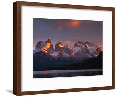 Cuernos Del Paine at Dawn and Lago Pehoe, Torres Del Paine National Park, Patagonia, Chile-Colin Monteath/Minden Pictures-Framed Photographic Print