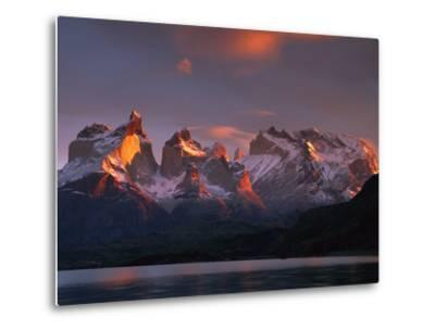 Cuernos Del Paine at Dawn and Lago Pehoe, Torres Del Paine National Park, Patagonia, Chile-Colin Monteath/Minden Pictures-Metal Print
