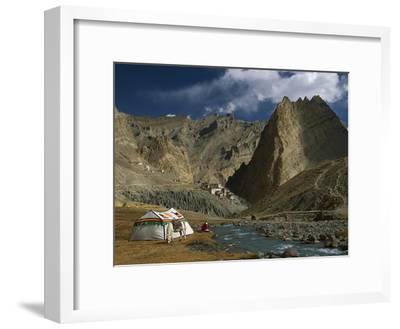 Trekker Writes in Diary Beside Tibetan Tent, Photoskar Village, Ladakh, Himalayas, Northwest India-Colin Monteath/Minden Pictures-Framed Photographic Print