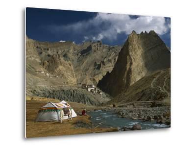 Trekker Writes in Diary Beside Tibetan Tent, Photoskar Village, Ladakh, Himalayas, Northwest India-Colin Monteath/Minden Pictures-Metal Print