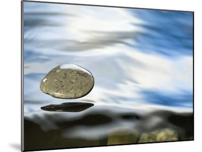 Skipping Stone Just About to Hit the Water's Surface-Michael Durham/Minden Pictures-Mounted Photographic Print