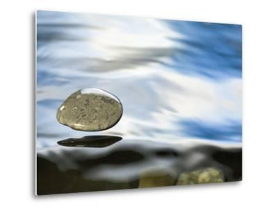 Skipping Stone Just About to Hit the Water's Surface-Michael Durham/Minden Pictures-Metal Print