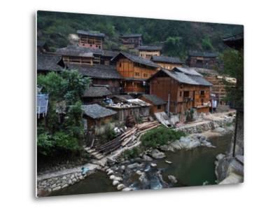 Wooden Houses Line the Duliu River in Xijiang-O^ Louis Mazzatenta-Metal Print