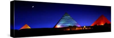 The Pyramids of Giza Lit Up at Night-Chris Hill-Stretched Canvas Print